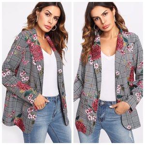 Retro Flower & Plaid Oversized Blazer
